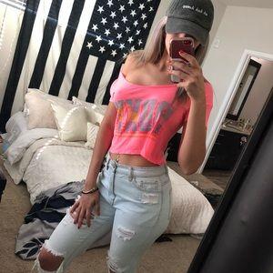 Hot Pink Roxy Crop Top